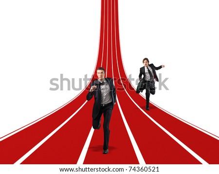men running on 3d way