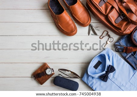 Men's accessories casual outfits with clothing and accessories with space on white wooden background, fashion and beauty concept