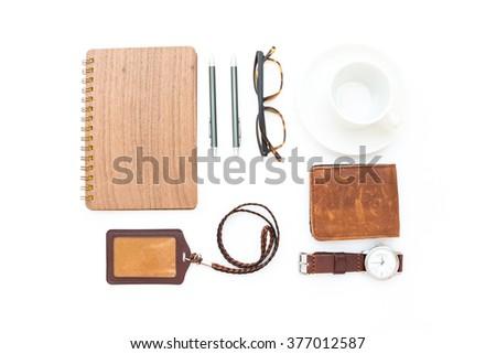 men's accessories on white...