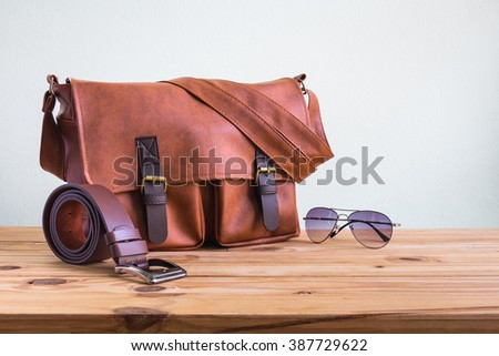 men's accessories with brown...
