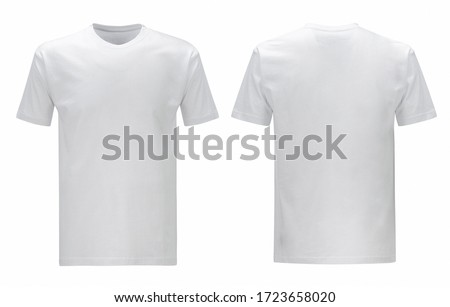 Men's and unisex white blank T shirt template, two sides, regular fit, natural shape on invisible mannequin, for your design mockup for print, isolated on white background. Photo stock ©