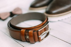 Men's belt, shoes and bow tie
