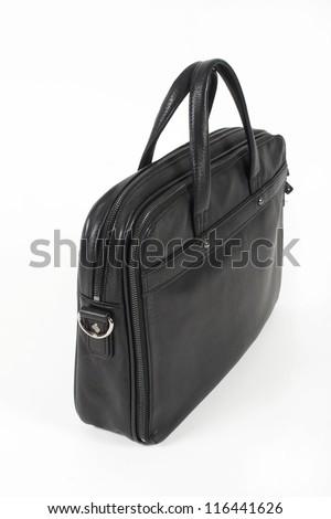 Men's black leather handbag isolated on white