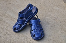 Men's black leather sandals , in such men's sandals is very convenient in the summer. Copy space.