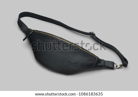 Men's black leather waist bag #1086183635