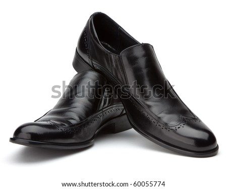 Men's black shoes on a white background