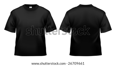 Men's black T-shirt design template (clipping path).