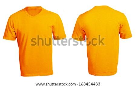c59c0ccfb7af Men's Blank Orange V-Neck Shirt, Front and Back Design Template #168454433