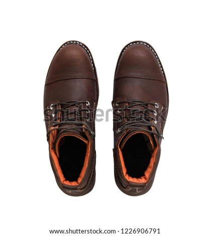 Men's boot with brown genuine leather for man collection isolated on a white background. Clipping paths #1226906791