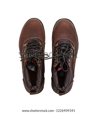 Men's brown ankle boot isolated on a white background. Clipping path #1226909341