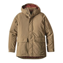 Men's Brown Winter Windproof Parka Coat Isolated on White Background. Waterproof Jacket with Adjustable Hood & Interior Collar. Best Warm Cotton Outdoor Clothing for Hiking Travel. 2-Layer Nylon Shell