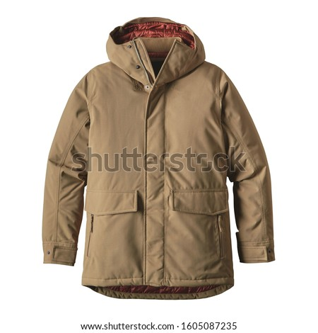 Men's Brown Winter Windproof Parka Coat Isolated on White Background. Waterproof Jacket with Adjustable Hood & Interior Collar. Best Warm Cotton Outdoor Clothing for Hiking Travel. 2-Layer Nylon Shell Сток-фото ©