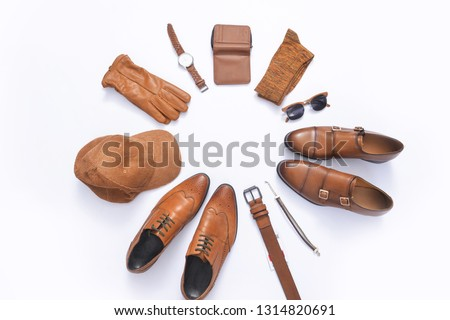 Men's casual outfit. accessories on white background, flat lay