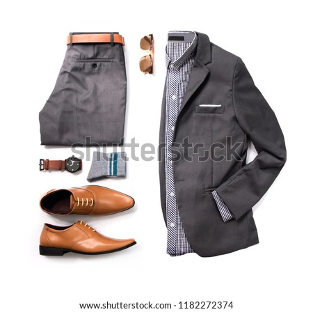 Men's casual outfits for man clothing set with gray suit , watch, sunglasses, trousers, socks, shirt, belt and oxford shoes isolated on white background, Top view. pack shot