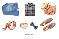 Men's casual outfits with accessories items on white background, fashion and beauty concept