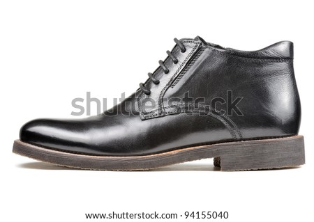 Men's Classic Black Leather Shoe Isolated on White Background