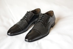 Men's Classic Black Leather Shoes on White Background