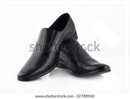 Men's classic leather shoes isolated over white background