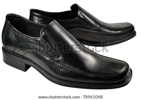 shoes made of genuine black leather. Isolated on white background