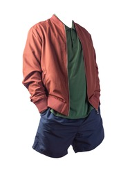 men's  dark red bomber jacket,dark green  shirt and dark blue sports shorts isolated on white background. fashionable casual wear