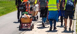 men's day with handcart in germany