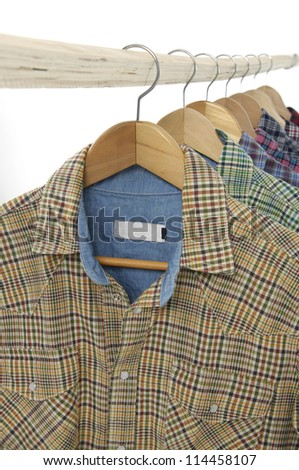 men's different colors short sleeved plaid cotton on a wooden hanger