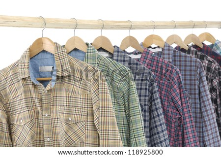 Men's different sleeved plaid cotton on wooden hanger