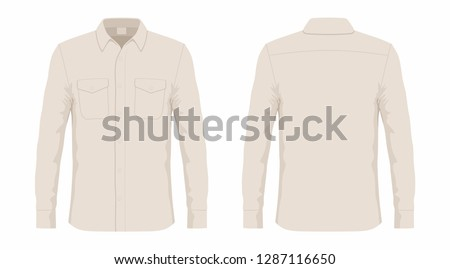 Men's dress shirt. Front and back views on white background #1287116650