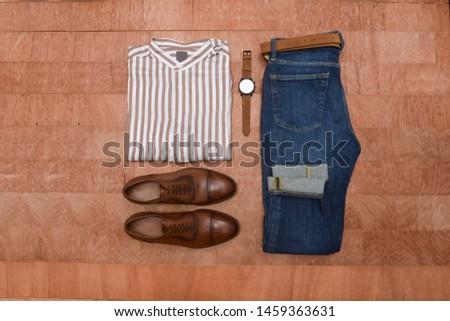 Men fashion. Men accessories. Men brown elegant shoes. Still