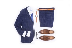 Men's fashion stripy suits, clothing and accessories on white background, flat lay