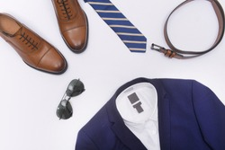 Men's fashion suits, clothing and accessories on white background, flat lay
