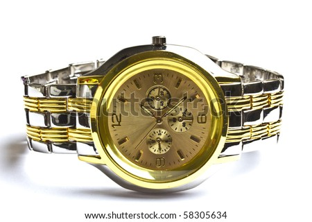 Men's gold wristwatch Isolated on white background - stock photo