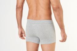 Men's gray boxer briefs mockup