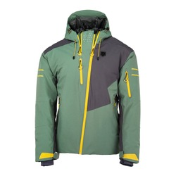 Men's Green Ski Jacket Isolated. Front View Water Resistant Hooded Winter Jacket with Cuffs Three Zippered Pockets. Zipper Pullover Coat & Adjustable Hood & Windproof Fabric. Winter Sports Outwear