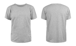 Men's grey blank T-shirt template,from two sides, natural shape on invisible mannequin, for your design mockup for print, isolated on white background.