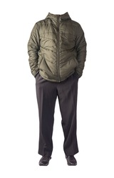 men's hakki  jacket  with a hood ,black pants  and black  leather shoes isolated on white background. men's autumn clothes