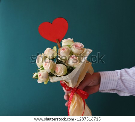 Mens Hand Holding A Bouquet Of White Pink Roses Love Anniversary Wedding