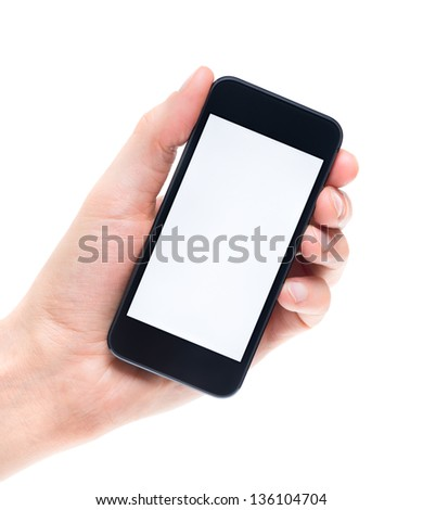 Men's hand holding and showing modern mobile smartphone with blank screen. Isolated on white background.