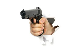 Men's hand with a gun. Crime concept. man's hand holding a black pistol gun, isolated on white, close-up, mockup for layout. Man's hand holding a black gun, aiming. Violence with weapons. Street gangs