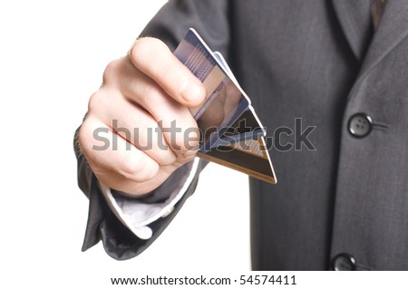 men's hand with credit card