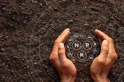 Men's hands are surrounded by rich soil with all the elements needed to grow, while digital icons represent the elements.