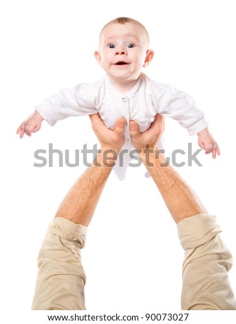 Men's hands hold the baby on a white background