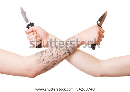 Men's hands with knife isolated on white background.