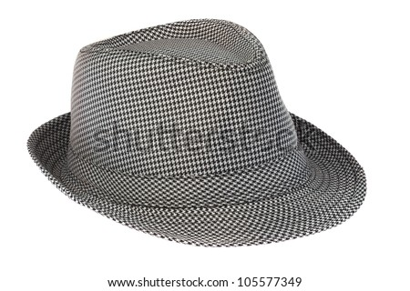 Men's hat into the cage on a white background