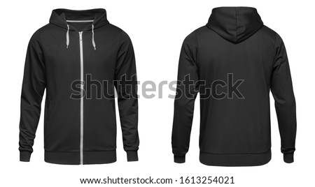 Photo of  Men's hoodie black with zipper isolated on white background. Blank template hoody front and back view.