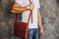 Men's leather bag. Brown men's bag. Men's fashion with brown leather bag.
