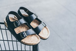 Men's leather sandals - casual style