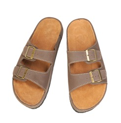 Men's leather sandals on white background