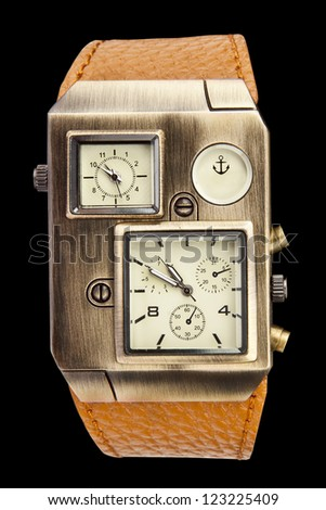 Men's mechanical watch isolated on black background