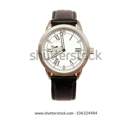 Men's mechanical watch isolated on white background